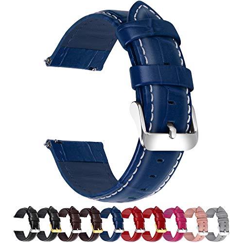 Fullmosa 18mm 20mm 22mm 24mm Bracelet Montre Cuir Véritable,Bamboo Bracelet de Montre Dégagement Rapide avec Fermoir en Aier INOX pour Homme/Femme,18mm Bleu Foncé