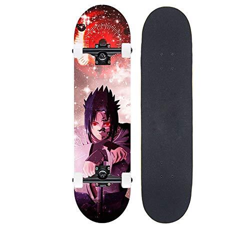Tiakey Skateboard de 7 Capas de Arce para Adultos para niños con Cuatro Ruedas Scooter de Cuatro Ruedas, Anime Naruto/Uchiha Sasuke Skateboard, Skateboarding Professional Mapa para jóvenes Skateboar