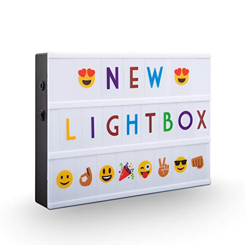 B.K.Licht I LED A4 Lightbox I USB und Batterie I 220 Buchstaben in schwarz und bunt I 82 Emojis & Symbole I 4 Schriftzüge z.B. Happy Birthday I Lichtbox I Letterbox I Muttertagsgeschenk