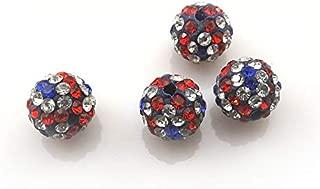 Calvas Fashion 10mm UK Flag Rhinestone Pave Disco Ball Crystal Beads 100pcs/lot