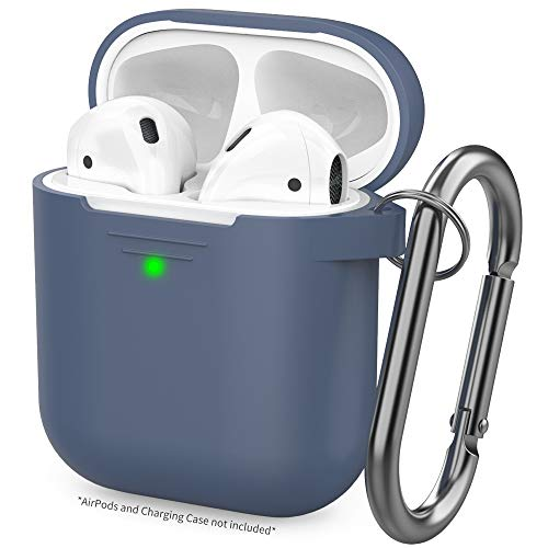 AhaStyle Premium AirPods Case Silicone Protective Cover Skin [Hand Strap and Carabiner Included] Compatible with AirPods 2 and 1(Navy Blue)