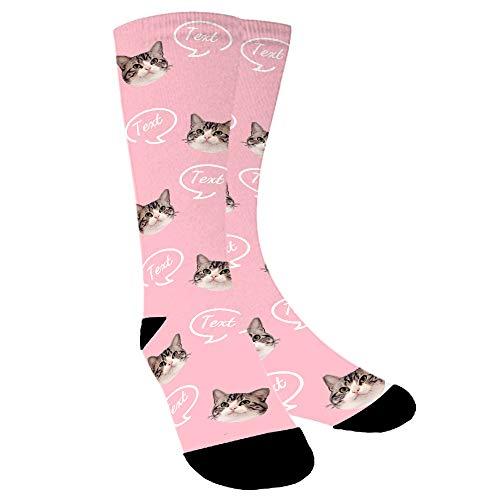 Calzini personalizzati per animali domestici, calzini personalizzati con immagine dell'animale domestico, calzini per cani personalizzati aggiungi testo Unisex, nero rosa Taglia unica
