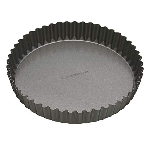 KitchenCraft KCMCHB40 Master Class Flan-/Quiche-Form, geriffelt, antihaftbeschichtet, mit Hebeboden, aluminium, grau, 30 cm (12 inches)