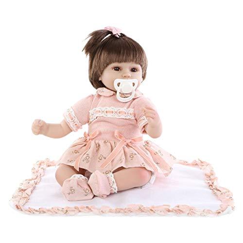 diveimai Bonecas Reborn Realistas de 43,8 cm Adoráveis Reborn Baby Girl Dolls Brinquedo de cabelo curto realista de silicone