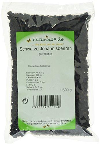Naturix24 Schwarze Johannisbeeren getrocknet – Beutel, 1er Pack (1 x 500 g)