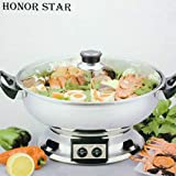 HONOR STAR 2 Sided 2 Grid 2 Taste Electrical Multi-cooker Stainless Steel Hot Pot & Steamboat Heating Base HS-160B Dia30cm 1600W 4.2 Liter