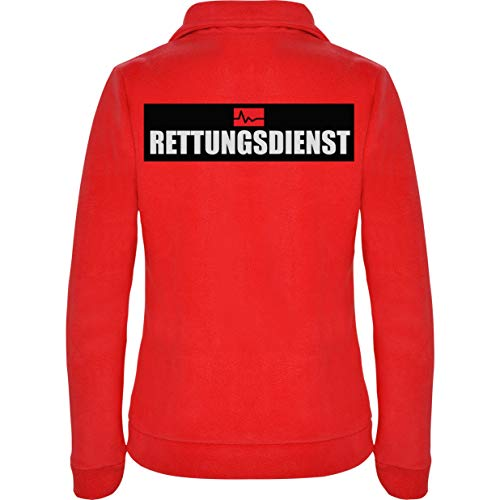Rettungsdienst Damen Fleece Jacke Jacket Pullover Full Zip L17W red (M)