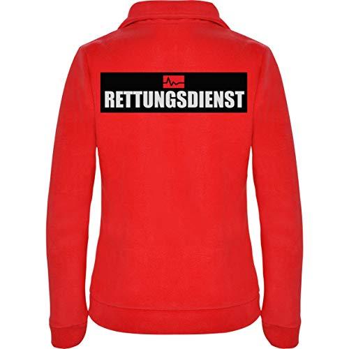Rettungsdienst Damen Fleece Jacke Jacket Pullover Full Zip L17W red (M)