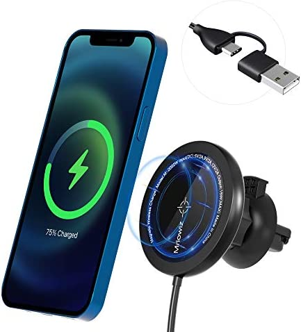 Mriowiz Magnetic Wireless Car Charger Mount with Secure Air Vent Clamp for MagSafe Fast Charging product image