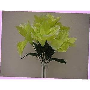 Artificial 2 Bushes Green Amaryllis Artificial Silk Flowers 16″ Bouquet 6-647gr Bouquet Realistic Flower Arrangements Craft Art Decor Plant for Party Home Wedding Decoration