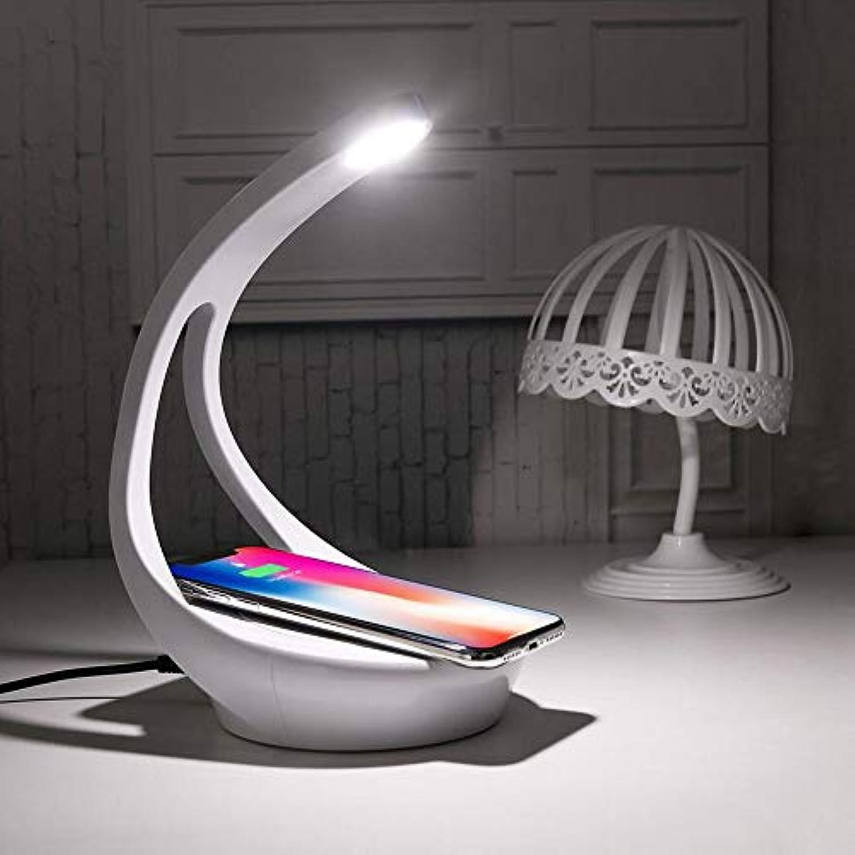 Kklak LED-Schreibtischlampe 3 Farbmodi x Dimmbare berührungsempfindliche Leselampe und drahtlose Ladelampe für Mobiltelefon für Büro, Zuhause, Lesen, Lernen, Arbeiten,Silber