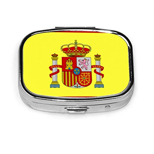 Caja de pastillas cuadrada de moda personalizada con bandera de España, soporte para tableta, monedero, estuche organizador, caja de decoración