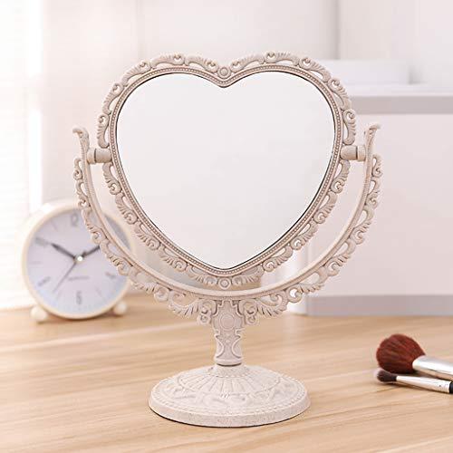 Mltdh Ankleidespiegel, Desktop-Schminkspiegel, herzförmiger Prinzessinnenspiegel, Retro-Schlafsaal-Desktop-Kosmetikspiegel,Beige