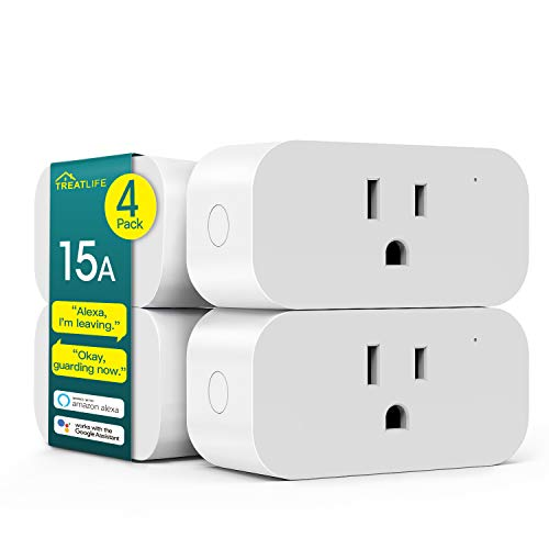 Smart Plug 4 Pack, Treatlife 7 Day Heavy Duty Programmable Timer, 1800W 15A WiFi Smart Home Outlet Timer, Child Lock, Vacation Mode, Compatible with Alexa, Google Assistant
