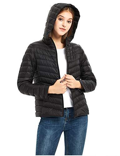 ilishop Women's Packable Short Down Jacket Lightweight Hooded Coat Outwear Puffer Black XL