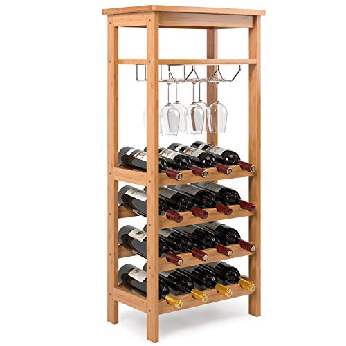 Homfa Bamboo Wine Rack Free Standing Wine Holder Display Shelves with Glass Holder Rack, 16 Bottles Stackable Capacity for Home Kitchen, Natural Color