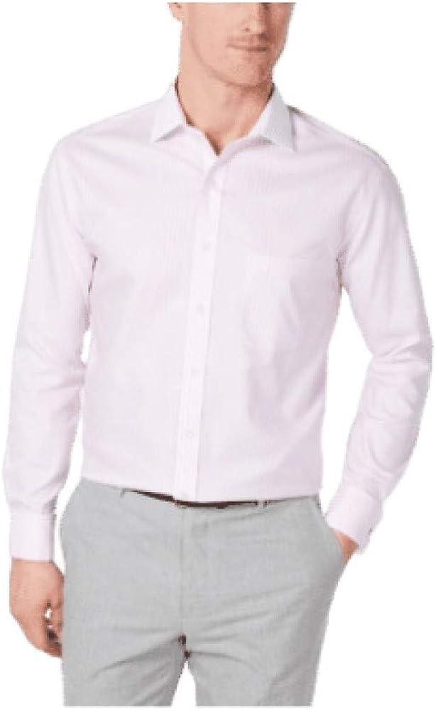 Tasso Elba Men's Classic/Regular Fit Non-Iron Supima Cotton Twill Bar Stripe French Cuff Dress Shirt Pink Medium