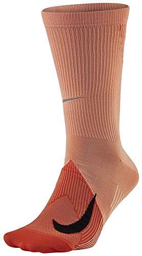 Nike Elite Adult Lightweight Crew Running Socks 1 Pair (Orange(SX6264-883)/Blue, Men 10-11.5, Women 11.5-13)
