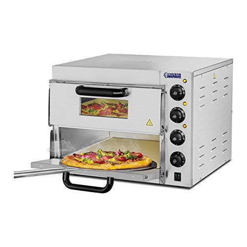 Royal Catering RCPO-3000-2PS-1 Pizzaofen elektrisch 2 Kammern Pizzabackofen Pizza Ofen Schamotte Schamotteboden (3000W, 2 Schamotte-Steinböden: 40 x 40 x 1,5 cm, Timer bis 120 min, Edelstahl)
