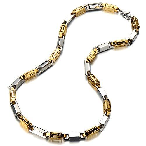 COOLSTEELANDBEYOND 7MM Breit 56 cm Lang Edelstahl Gliederkette Herren-Halskette Hip Hop Collier Silber Gold Farbe mit Karabinerverschluss