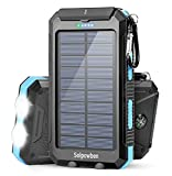 Solar Charger Power Bank, Solpowben 20000mAh Portable Solar Phone Charger with 5V/2.1A Outputs for All Cellphones, Waterproof External Backup Battery Charger with Flashlights for Emergencies(Blue)