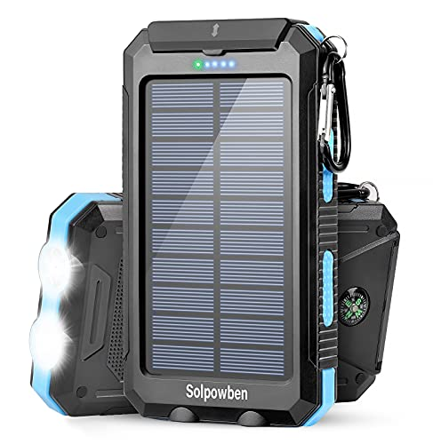 Solar Charger 20000mAh, Solpowben Solar Power Bank With Dual USB Output/Flashlight, Waterproof Portable Solar Phone Charger For Camping Outdoor, External Battery Charger Pack For All 5V Devices (Blue)