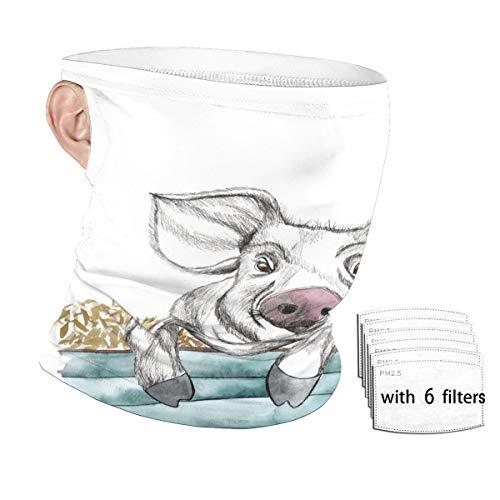 Watercolor Cartoon Cute Funny Animal Pig Face Mask...