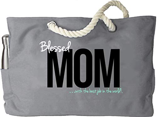 KEHO Spill Proof Mom Diaper Bag XXL Baby Shower Rope Handle Pockets (Grey)