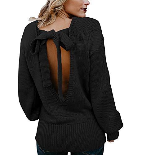 LAEMILIA Damen Pullover Strickpullover Rückenfrei Schleife Lässig Langarm Sweater Stricken Langarmshirt Herbst Frühjahr Reizvoll Oberteil