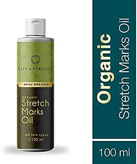 Life & Pursuits Organic Stretch Mark Oil (100 ml/3.38 fl oz), Ayurvedic Pregnancy Body Oil for Stretch Marks Prevention, Scars | with Gotu Kola, Castor Oil