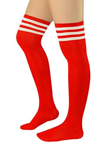 Durio Damen Baumwolle Dünn Über Knie-Lange Overknee Socken Sportsocken Kniestrümpfe Strümpf mit 3 Streifen Z Rot mit Weiß Streifen One Size