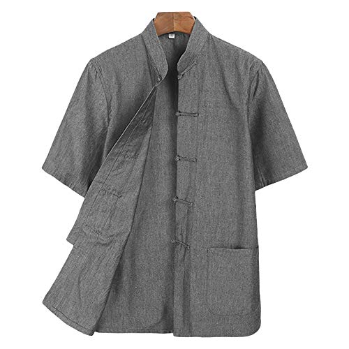 ZooBoo Men Tang Tops Summer Short Sleeved Cotton Shirts (XXL, Gray)