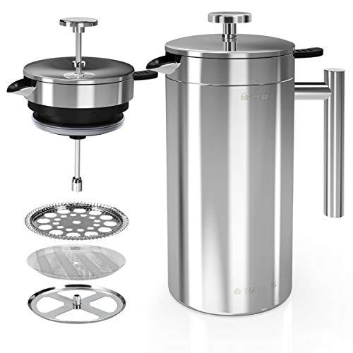 Navaris Cafetera Francesa de Acero Inoxidable de 1L - Tetera de émbolo con Doble Pared - Incluye 2 filtros de Repuesto - Apta para el lavavajillas