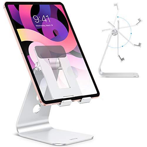 OMOTON Supporto per Tablet, Porta Tablet Regolabile da Tavolo[Aggiornato], Dock, Stand Design Cavità per iPad Pro 10.5, Pro 12.9, iPad Mini 2 3 4, Air, iPhone, Samsung Tab, Base Grande, Argento