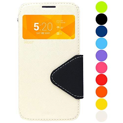 Roar Premium Hülle für Sony Xperia Z2 Handyhülle, Flip Hülle Schutzhülle Tasche Hülle für Sony Xperia Z2, Klapphülle mit Fenster in Weiß