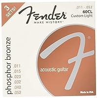 Fender アコースティックギター弦 Phosphor Bronze Acoustic Guitar Strings, Ball End, 60CL .011-.052 Gauges, 3-Pack
