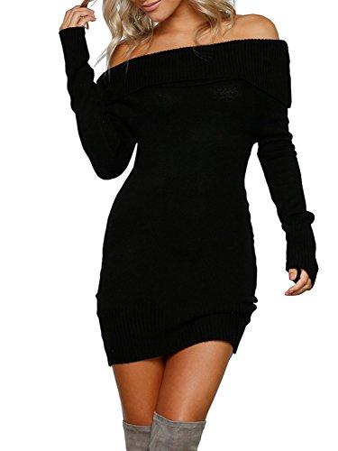 Melegant Damen Herbst Kurz Kleid Elegant Vintage Off Shoulder Langarm Eng Strickkleider Winter Schwarz