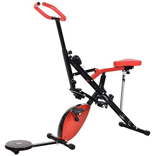 HOMCOM Heimtrainer, Fahrradtrainer mit 2,5kg Schwungrad, Fitness-Scheibe, Reiten, LCD-Display, 8 stufiger Magnetwiderstand, Stahl, 151 x 51,5 x 127-142,5 cm