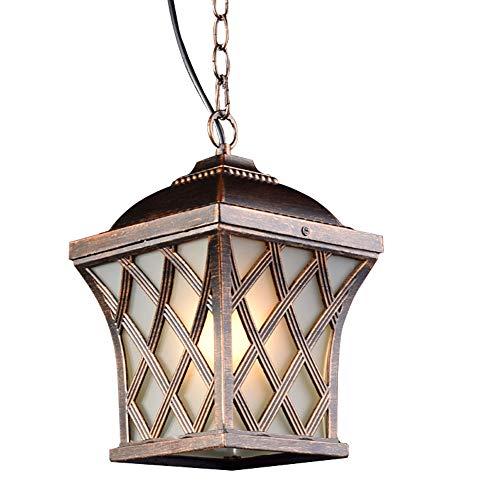 Rustikal Außen Hängeleuchte Wasserdichte IP44 Hängend Lampe aus Aluminium Glas Vintage Decken-Leuchte E27 Pendelleuchte Außenlampe Pendellampe Laterne Höhenverstellbar Bronze