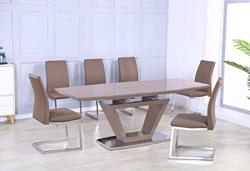 Azore Extending Dining Table High Gloss Cappuccino 6 Chairs, Dining Table And Chair Set, Modern Rectangular Extending High Gloss Dining Table With 6 Chairs, 1600W + (400) x 900D x 760H