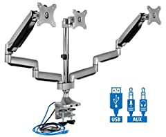 UNIVERSAL TRIPLE MONITOR DESK MOUNT: Fits 3 displays 24 25 26 27 28 29 30 31 32 inches in size, with a maximum support weight of 15.4 pounds each, using the 75x75mm or 100x100mm VESA square bolt hole pattern found on the back of the monitors. (measur...