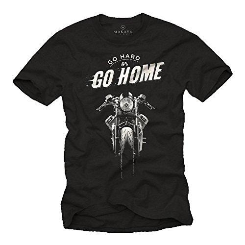 Vintage Cafe Racer T-Shirt - Motorrad Shirt mit Spruch - Go Hard or Go Home Moto Guzzi schwarz L