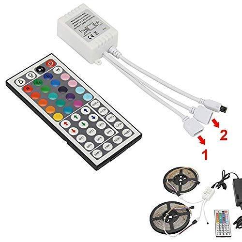 LED Fernbedienung, 12V 44-Tasten IR Wireless Controller mit 2-in-1 RGB LED Streifen DC-Anschluss, 4-polige Dimmer Helligkeits Blitzsteuerungsoptionen, LED Zubehör für SMD3528 5050 LED Streifen