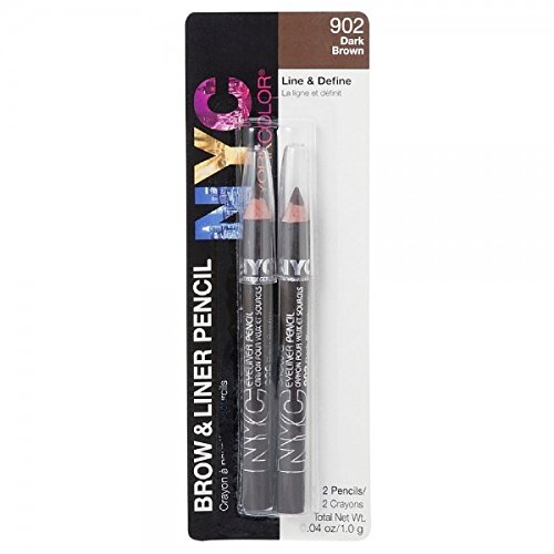 NYC Brow and Liner Pencil Set, Dark Brown 1 Pair