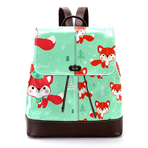 Casual PU Leather Backpack for Men, Women's Shoulder Bag Students Daypack for Travel Business College Cute Fox