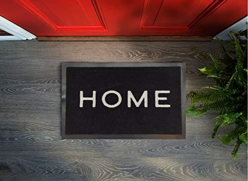 Floorcover Premium Fußmatte rutschfest - Türvorleger & Schmutzabstreifer in Grautönen bleibt der Schmutz draußen und das Zuhause sauber (Schwarz-Home, 45 x 75 cm)