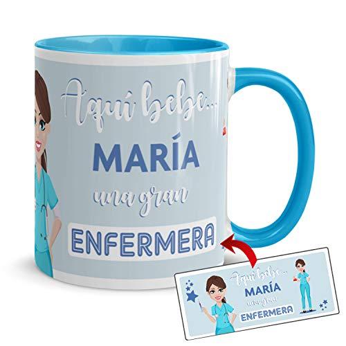 Kembilove Taza de Café de la Mejor Enfermera del Mundo Personalizada con el Nombre – Taza de Desayuno para la Oficina – Taza de Café y Té para Profesionales – Taza de Cerámica Impresa para Enfermeras