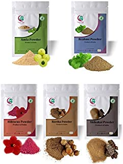 Yogi's Gift | Ayurvedic powders for hair growth combo | Organic hair mask | Amla, Reetha, Shikakai, Brahmi & Hibiscus (Eac...