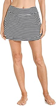 Coolibar UPF 50+ Women s Baycrest Swim Skirt - Sun Protective  X-Large- White/Black Stripe