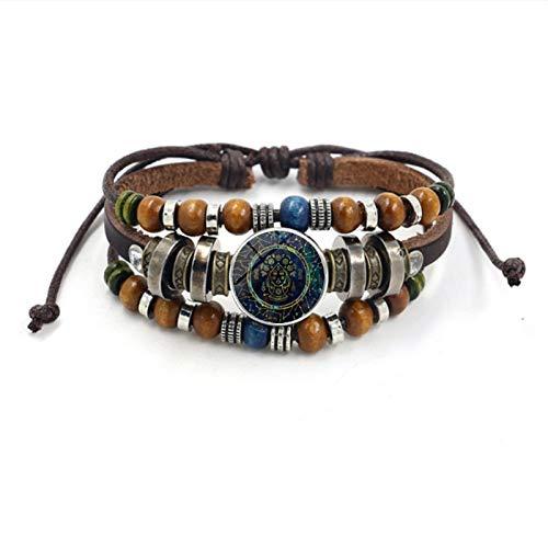 WDAIJY Pulsera Mujer,Constelación Virgen Pulseras para Hombres Signo Zodiaco Cabujón De Cristal Vintage Charm Bracelet Bangle